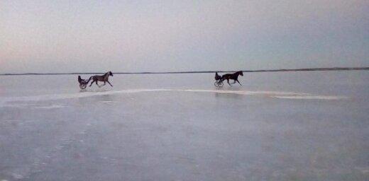 Video: Aktīvisti Latgalē Lieldienās ar zirga pajūgu dodas pāri aizsalušam ezeram