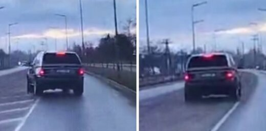 Video: Liepājā uz slapjas ielas saslīd 'BMW X5' – riepas 'plikas'?