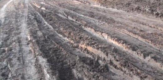 Video: Drustēnieši izdangātajā autoceļā P29 stāda kartupeļus