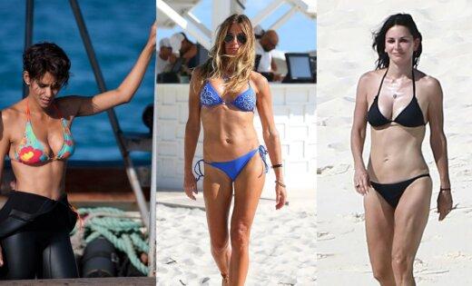Valdzinošas pēc 50: slavenas dāmas, kuras bikini izskatās satriecoši