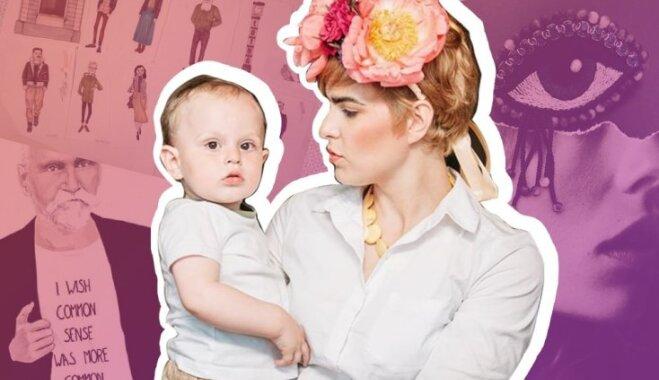 Artmane 'Chanel' kostīmā un acs formas brošas – kamēr mazulis guļ, Krista rada iedvesmojošus darbus