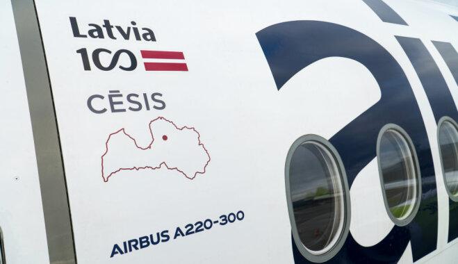 Visas 'airBaltic' jaunās lidmašīnas 'Airbus A220-300' rotā Latvijas mīlētāko pilsētu vārdi