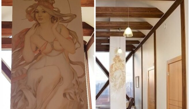 ФОТО. Мраморный камин, роспись и шарм высоких потолков в квартире на Пулквиежа Бриежа