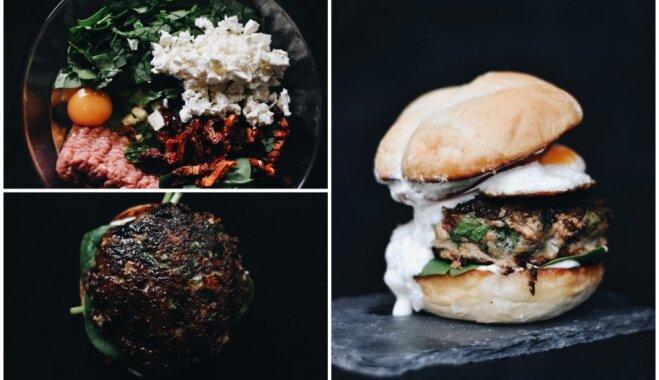 Grieķu burgeri ar vēršaci