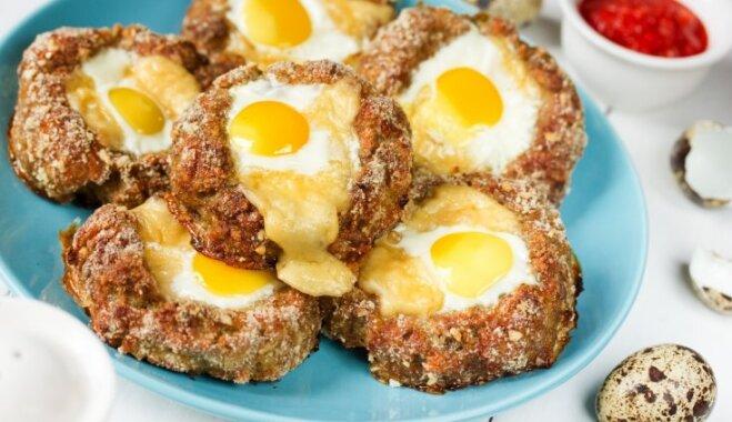 Gaļas 'ligzdiņas' ar siera un olas pildījumu