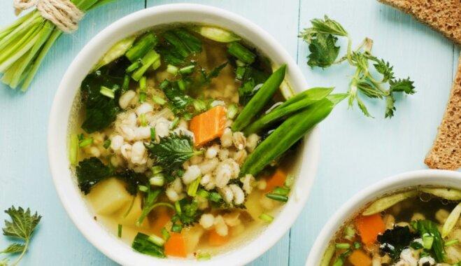 Легкий суп с перловкой и весенней зеленью