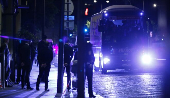 Police secure bus with French players