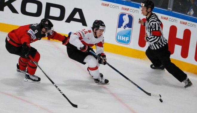 Switzerland Pius Suter with Canada Matt Duchene