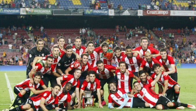 Athletic Bilbao celebrate Spanish Supercup