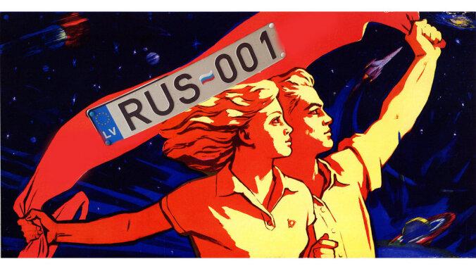 Kāds sods pienākas par Krievijas karodziņu Latvijas auto numurzīmē