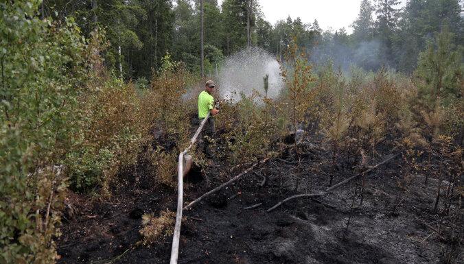 Пожарные продолжают тушить торфяной пожар в Карсавском крае, огонь распространился глубже в лес