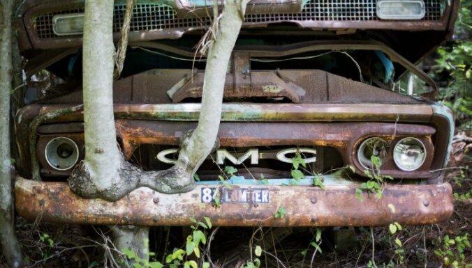 Foto: Kā mežs pārņem 'Chrysler Imperial' un citu klasisko auto vrakus