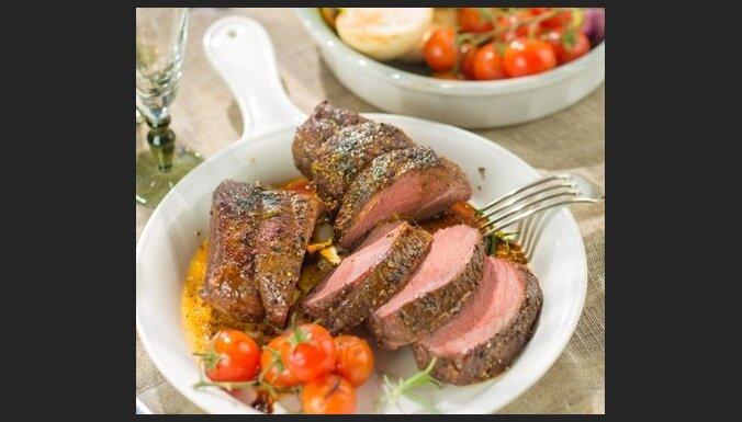 Стейк из говядины с овощами-гриль
