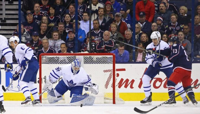 Toronto Maple Leafs goalie Frederik Andersen vs Columbus Blue Jackets