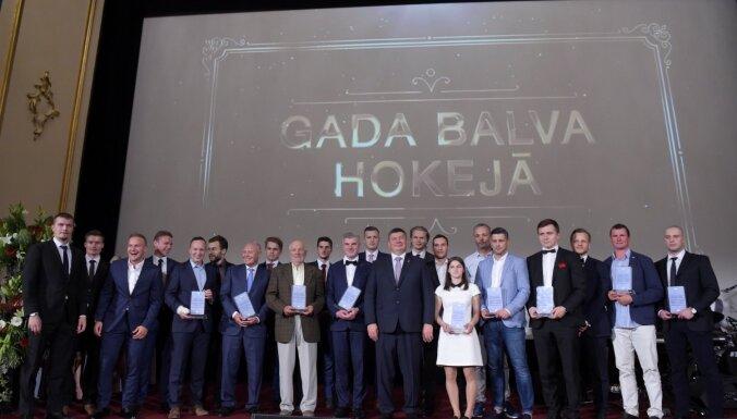 Foto: Rīgā pirmo reizi sumina Latvijas labākos hokejistus