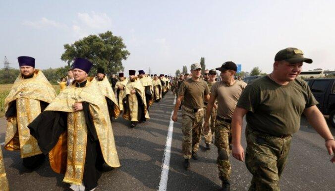 Provokāciju riska un granātu dēļ bloķē Maskavas patriarhāta rīkoto Krusta gājienu Kijevā