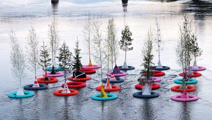 Zviedri Daugavā ar peldriņķiem peldinās kokus
