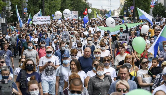 Habarovskā piekto nedēļas nogali pēc kārtas notiek protesti
