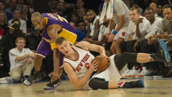 New York Knicks Kristaps Porzingis, Los Angeles Lakers Kobe Bryant