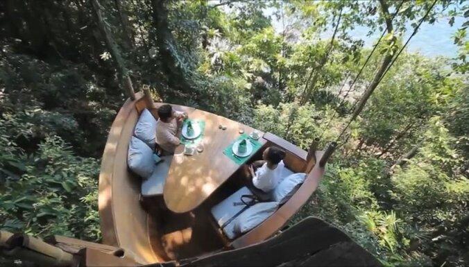 Maltītes koku galotnēs: ekskluzīvs restorāns, kurā ēdienu piegādā pa trošu ceļu