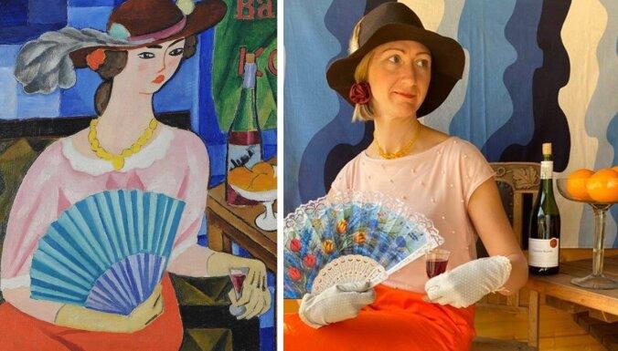Māksla un karantīna – Latvijas versija. Slavenu gleznu atdarinājumi mājas apstākļos
