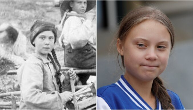 Sajūsmu izraisa 121 gadu sens foto ar 'laika ceļotāju' Grētu Tūnbergu