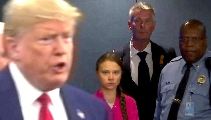 Sašutumu raisa Trampa izsmējīgā reakcija uz Tūnbergas runu