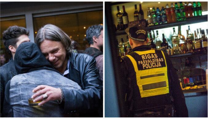 Foto: Ar policijas iejaukšanos aizvadīta grupas 'Ryga' ballīte