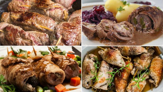 Latviešu godu klasika – viltotās 'irbītes': 16 recepšu variācijas pildītiem gaļas rullīšiem
