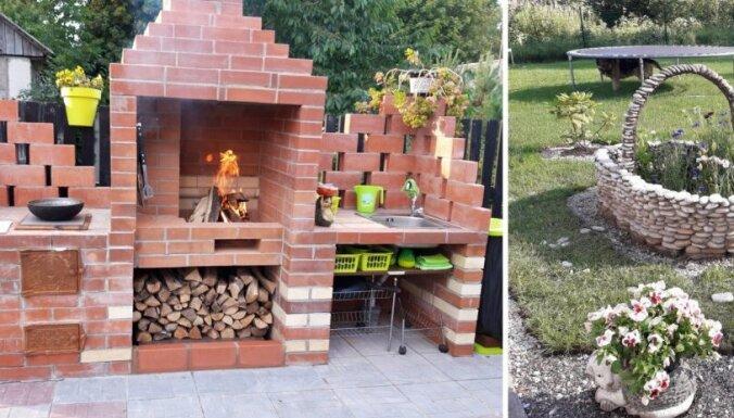 Dārzi kaimiņzemē: iespaidīga ķieģeļu virtuve un dekoru dažādība