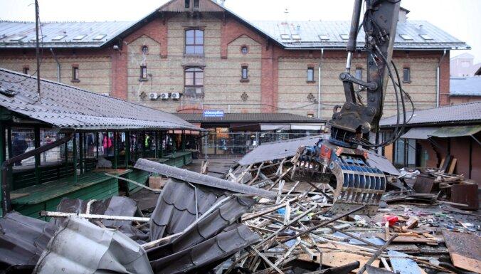 ФОТО, ВИДЕО: На Рижском Центральном рынке сносят киоски