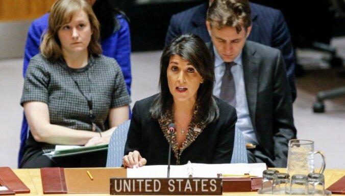 Pirms ANO balsojuma par Jeruzalemi ASV vēstniece brīdina, ka informēs Trampu par valstu izvēli