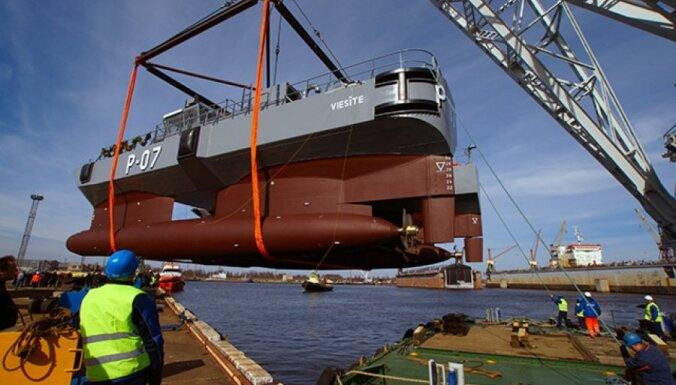 Фоторепортаж: Построенный в Латвии военный корабль спущен на воду!
