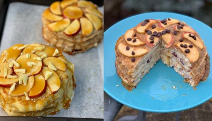 Рецепт на конкурс: Блинчатый пирог с яблоками и творогом-рикоттой
