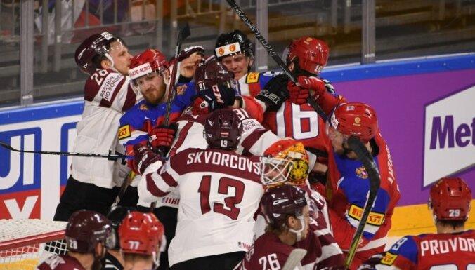 Krievijas hokejisti pēc uzvaras slavē Latvijas izlasi