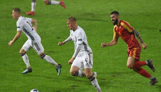 Latvijas futbola izlase nepateicīgos apstākļos izlaiž uzvaru Melnkalnē