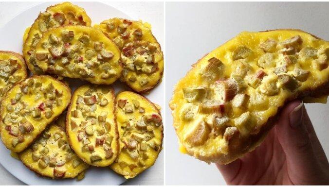 Plātsmaizes ātrā alternatīva – sulīgas rabarberu maizītes