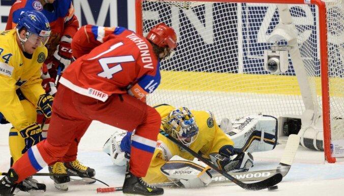 Viktor Tikhonov vs goalkeeper Jhonas Enrothof, Russia - Sweden