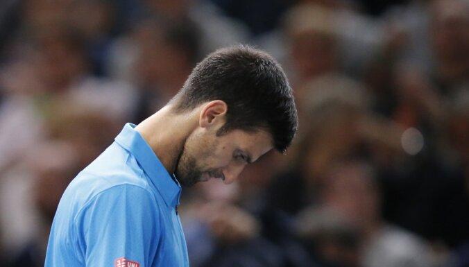 Novak Djokovic Serbia reacts after loosing Marin Cilic Croatia