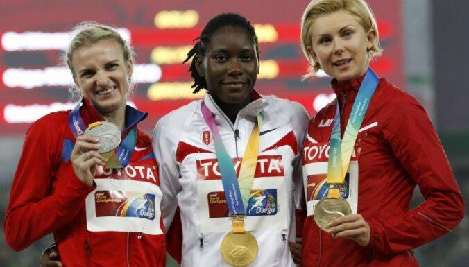 IAAF World Championships Daegu, gold Reese USА, silver Kucherenko Russia, bronze Radevica