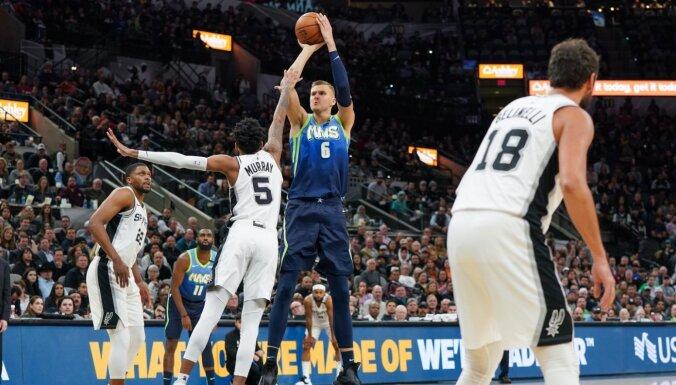 Porziņģis ar 'double double' kaldina 'Mavericks' panākumu pret 'Spurs'