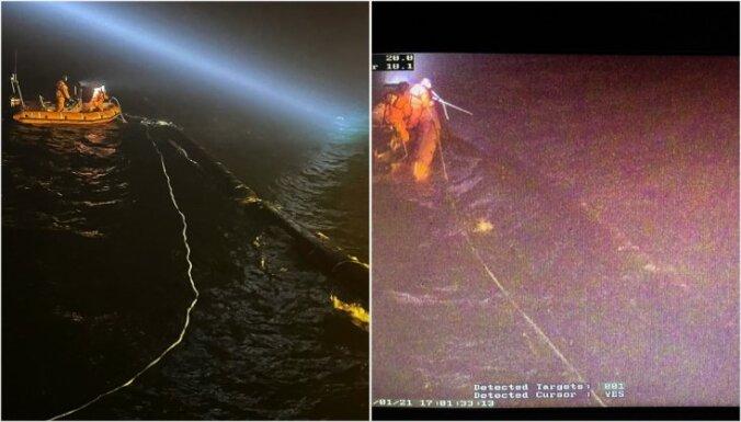 ФОТО. Морские силы Латвии нашли в море пропавшую трубу с терминала Бутинге
