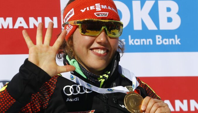 Laura Dahlmeier Germany with her fifth gold medal