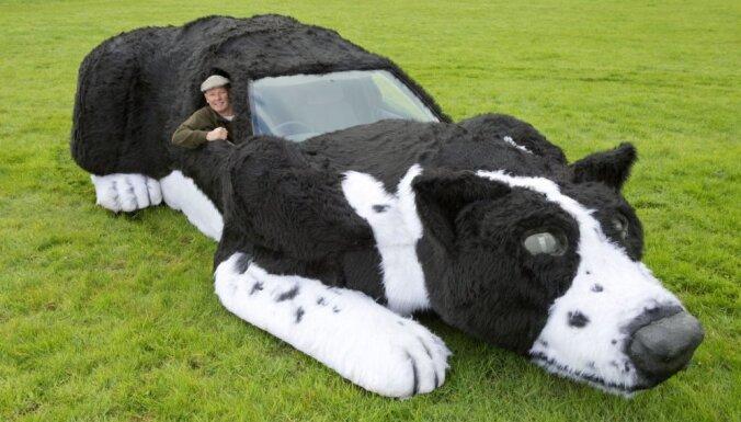Fermeris savu auto pārtaisa par milzu suni