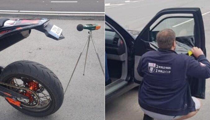ФОТО. Полицейский рейд в Риге: байкеры с самодельными номерами, сорванная тонирующая пленка