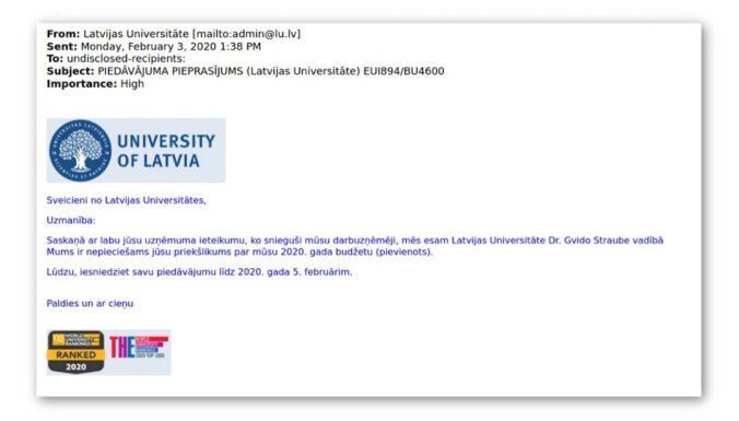 LU brīdina par masveidā tās vārdā sūtītiem inficētiem e-pastiem