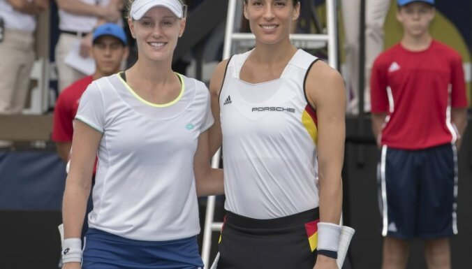 Andrea Petkovic and Alison Riske before Fed Cup