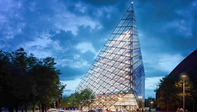 ФОТО: У стадиона Skonto появится стеклянная пирамида стоимостью 25 миллионов евро