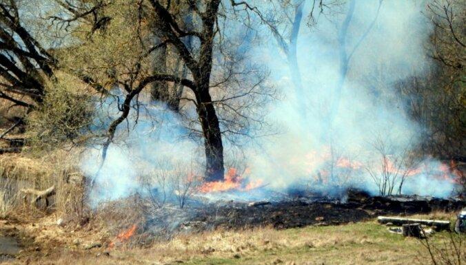 Foto: Skrīveros Lieldienās izcēlies kūlas ugunsgrēks