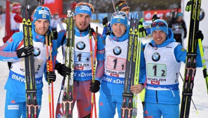 Russia biathlon Dmitry Malyshko, Anton Shipulin, Alexey Volkov, Evgeniy Garanichev